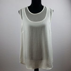 CAbi White Sleeveless Blouse With Mesh Accents